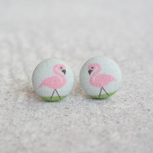 Handmade Flamingo fabric Button Earrings