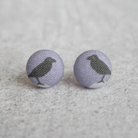 Handmade black bird fabric button earrings