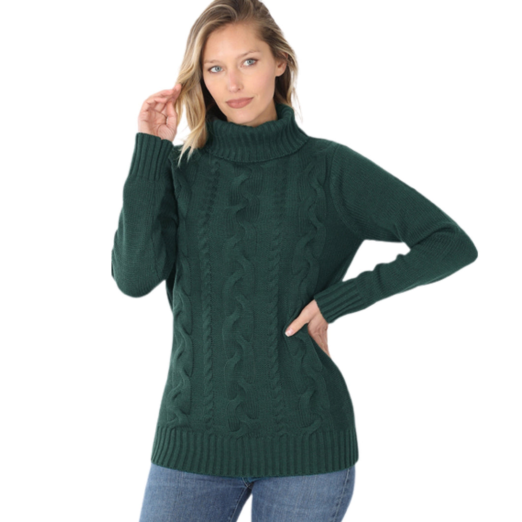 Green Braided Front Turtleneck Sweater