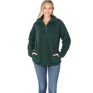 Zenana Hunter Green Sherpa Fleece Pullover