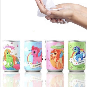Unicorn wet wipes pop top keychain