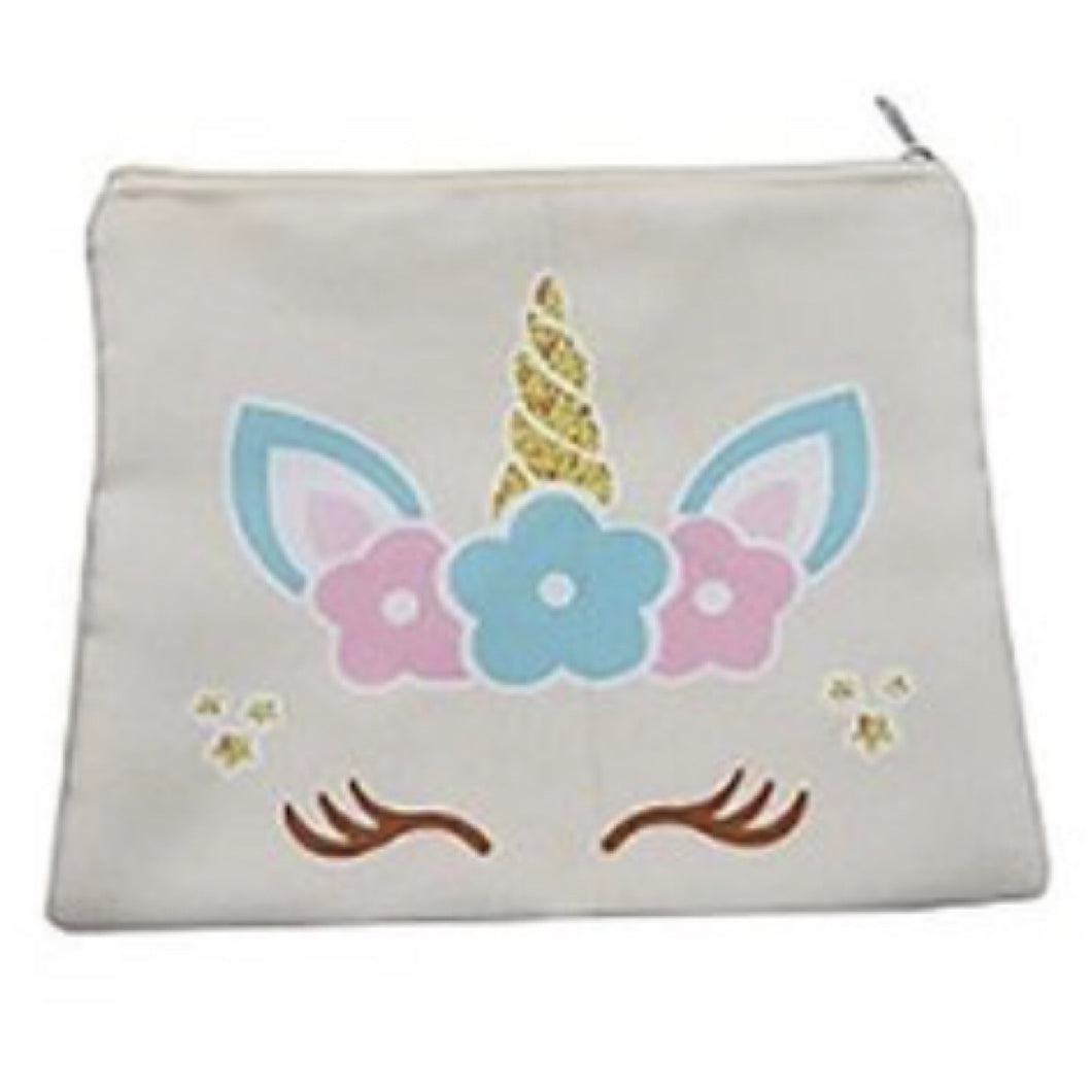 Unicorn Face Mask Zip Up Pouch