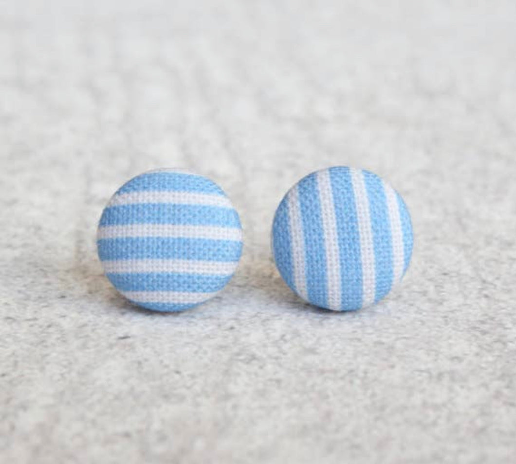 Handmade Blue Stripe fabric button earrings