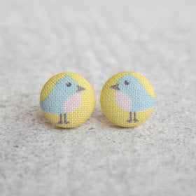 Handmade bluebird fabric button earrings