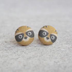 Handmade Raccoon fabric button earrings