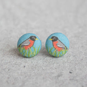 Handmade robin fabric button earrings