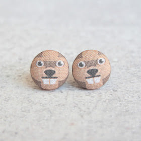 Handmade beaver fabric button earrings