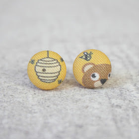 Handmade bear & honey fabric button earrings