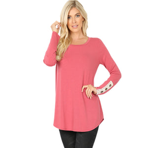 Rose Lace Trim Long Sleeve Top
