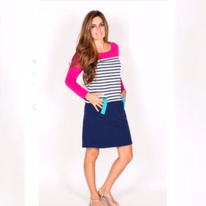 Pink and Navy stipe sweater dress