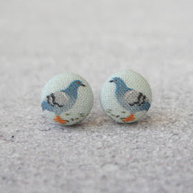 Handmade pigeon fabric button earrings
