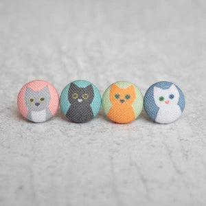 Handmade Mix and Match Cats fabric button earrings