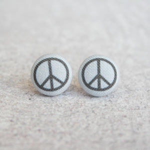 Handmade Peace Sign ☮️ fabric button earrings