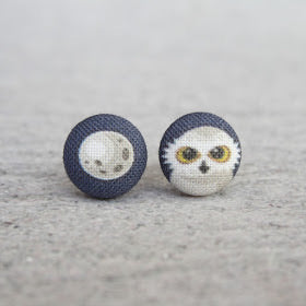 Handmade owl fabric button earrings