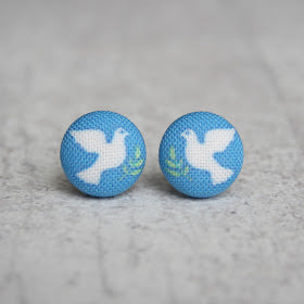 Handmade dove fabric button earrings