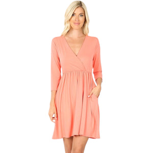 Coral Pocket Dress