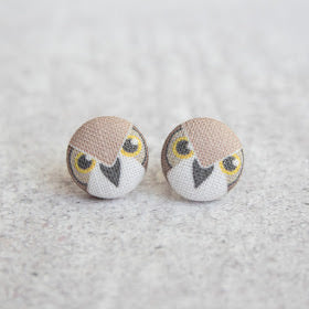 Handmade bird of prey fabric button earrings
