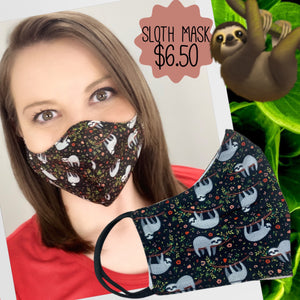 Sloth Print Cotton Mask