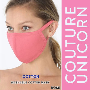 Reusable Solid Cotton Masks - Multiple Colors