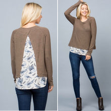 Brown bird print sweater