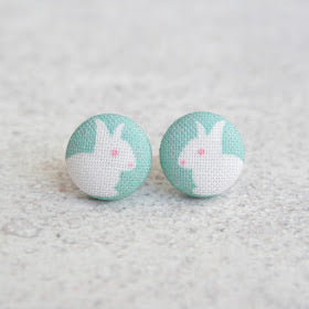 Handmade rabbit fabric button earrings