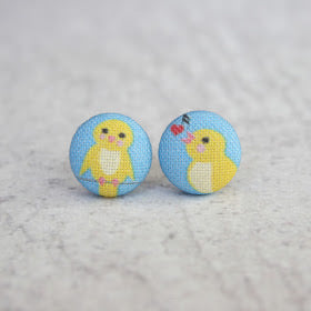 Handmade songbird fabric button earrings