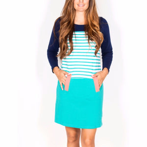 Teal and Navy strip sweater dress