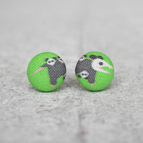 Handmade opossum fabric button earrings