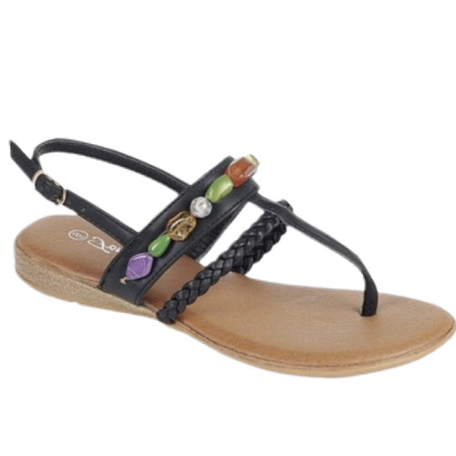 Raina black stone embellished sandals