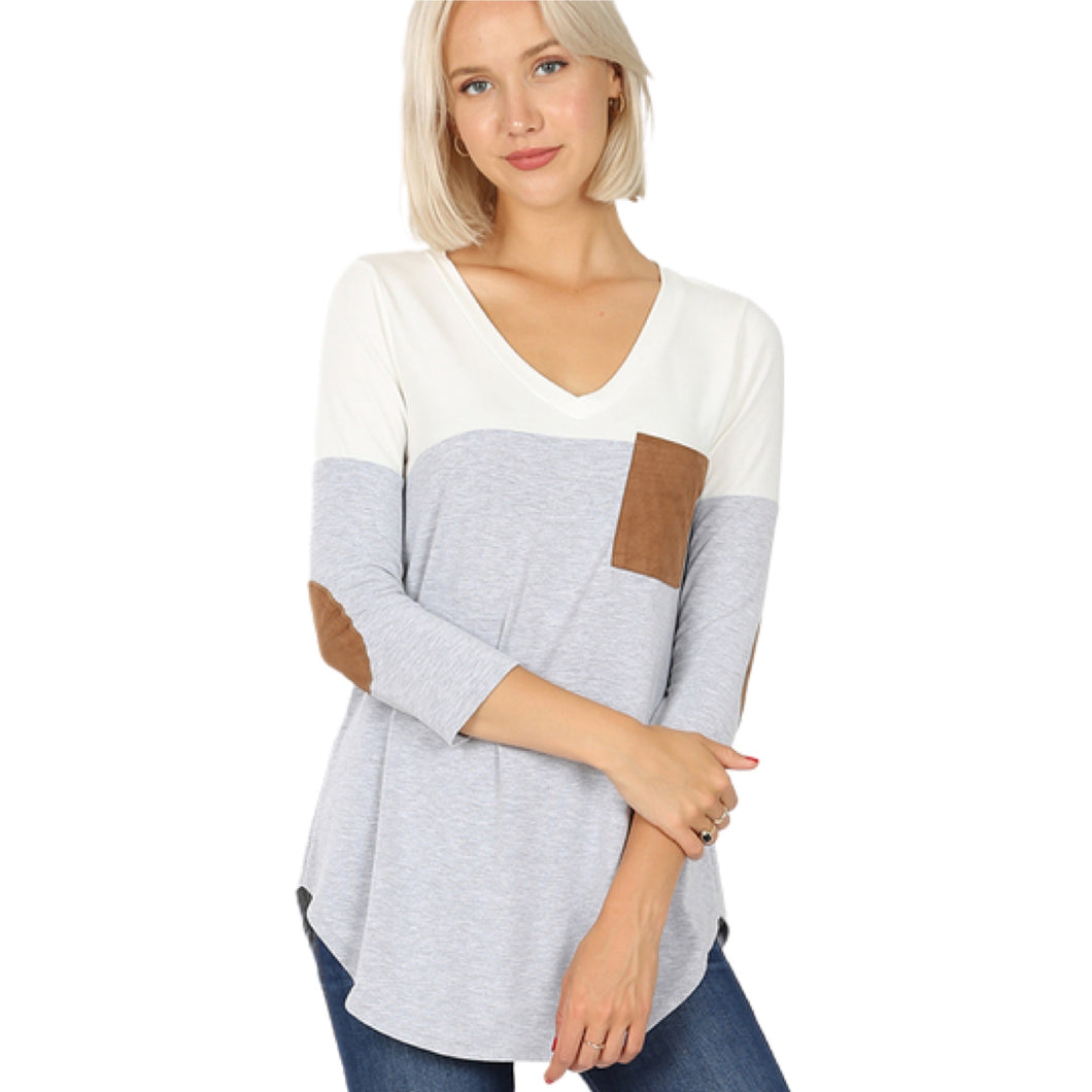 Ivory Colorblock Dlophin Hem Top with Elbow Patches