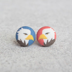 Handmade bald eagle fabric button earrings