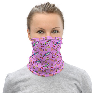 Pink Unicorn pixel game print neck gaiter