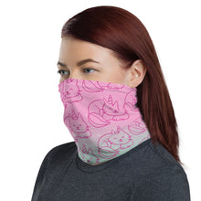 Pink Nine Tail Caticorn print neck gaiter