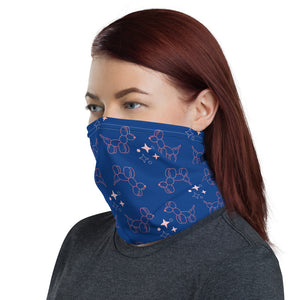 Blue balloon dog print neck gaiter
