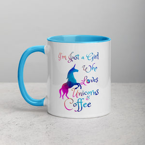 """Just a girl who loves unicorns and coffee"" Mug"