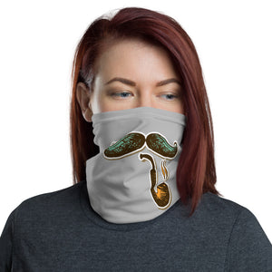 Mustache and pipe print neck gaiter