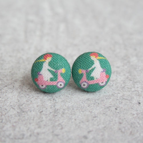 Handmade scooter fabric button earrings