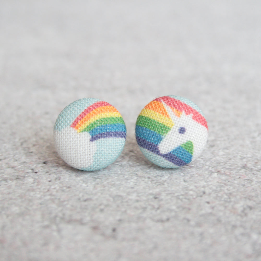 Handmade Unicorn fabric Button Earrings