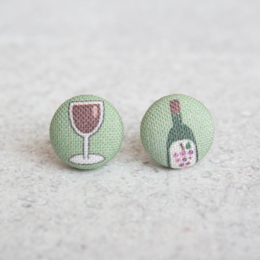 Handmade wine lover fabric button earrings