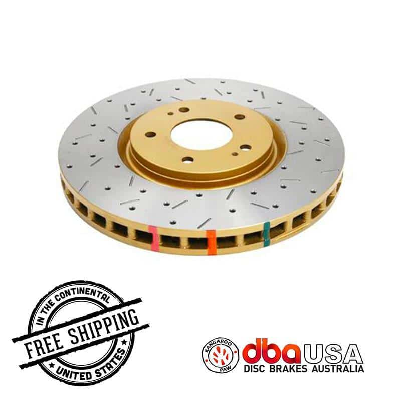 DBA USA - MITSUBISHI EVO - 4000 XS Series FRONT Drilled & Slotted Rotor dba42224XS 2010-2015 Mitsubishi Lancer EVO on Bleeding Tarmac