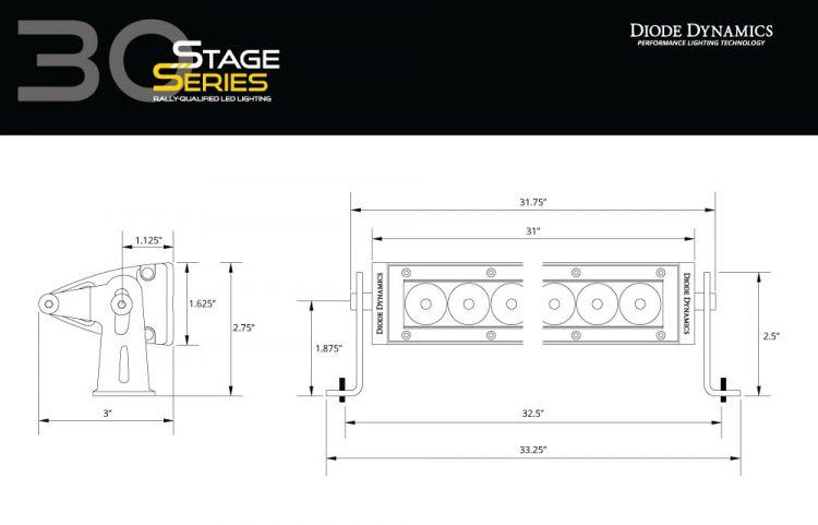 "Diode Dynamics - Stage Series 30"" White Light Bar DD6036 Flood / Yes (+$30.00) on Bleeding Tarmac"