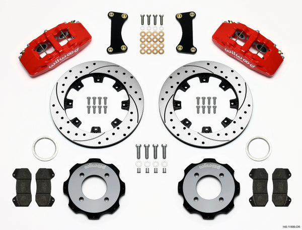 Wilwood 140-11899-DR Forged Dynapro 6 Big Brake Front Brake Kit (Hat) - Drilled Red - 2011+ Ford Fiesta on Bleeding Tarmac