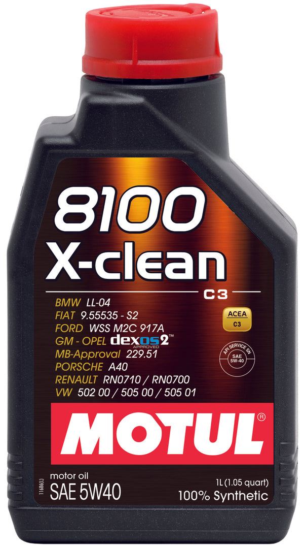 Motul 102786 1L Synthetic Engine Oil 8100 5W40 X-CLEAN on Bleeding Tarmac