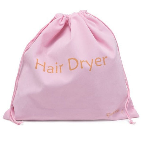Extra Large Luxury Velvet Drawstring Hair Dryer Bag - 13.5 x 13.5 in - Pink