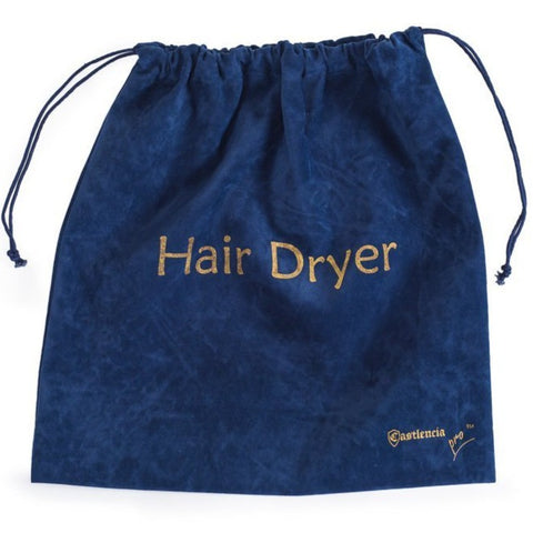 Extra Large Luxury Velvet Drawstring Hair Dryer Bag - 13.5 x 13.5 in - Navy