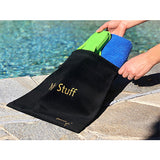 "Extra Large Luxury Black Velvet Drawstring Bag Labeled ""My Stuff""- 13.5 x 13.5 in"