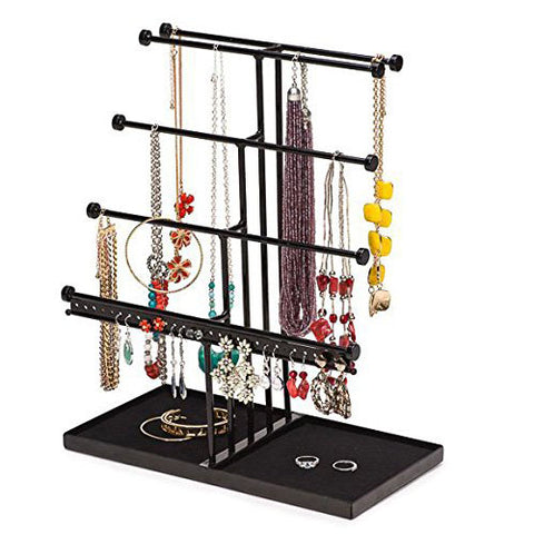 Black Extra Large 5 Tier Tabletop Jewelry Organizer Tree with Black Velvet Tray