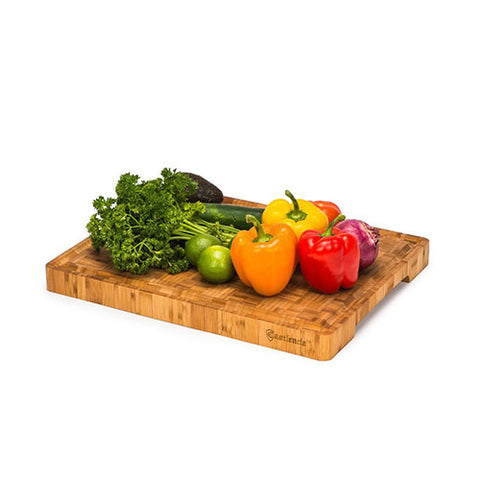 "Extra Large End Grain Professional Grade Bamboo Cutting Board with Deep Groove - 18"" x 14"" x 1.5"""