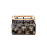 Strong and Stylish Rectangular Handmade Accent Storage Baskets- Organic Water Hyacinth - Set of 3