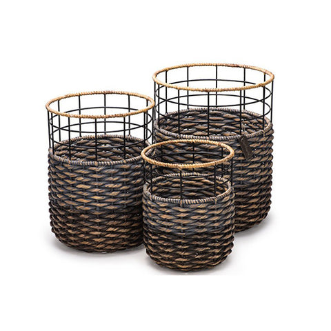 Strong and Stylish Round Handmade Accent Storage Baskets- Organic Water Hyacinth - Set of 3